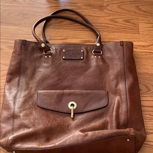 Kate spade cognac brown soft leather work tote